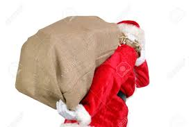 Santa carrying large sack over shoulder