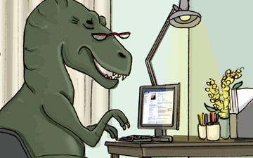 t-rex sat at computer